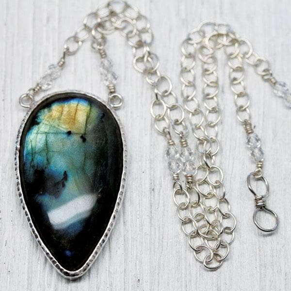 Silver Labradorite Tear Necklace