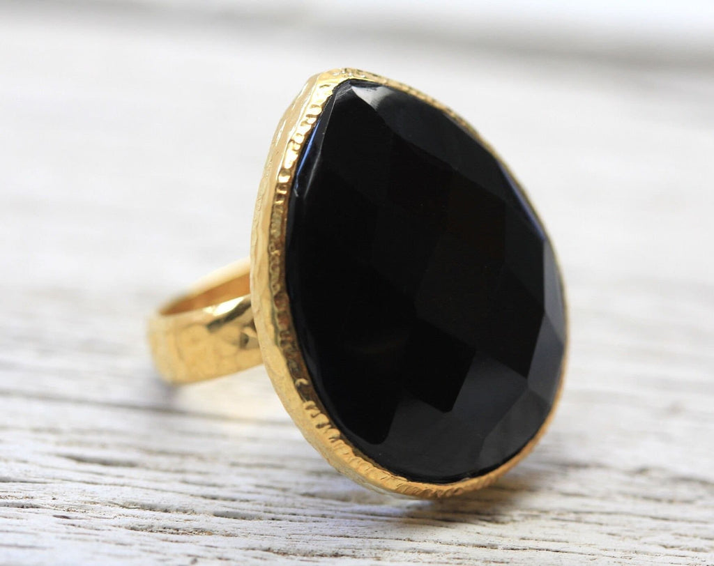 Gold Faceted Obsidian Ring