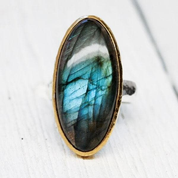 Gold & Silver Rainbow Labradorite Ring