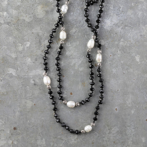 Fresh Water Pearl Double Strand Necklace - Black