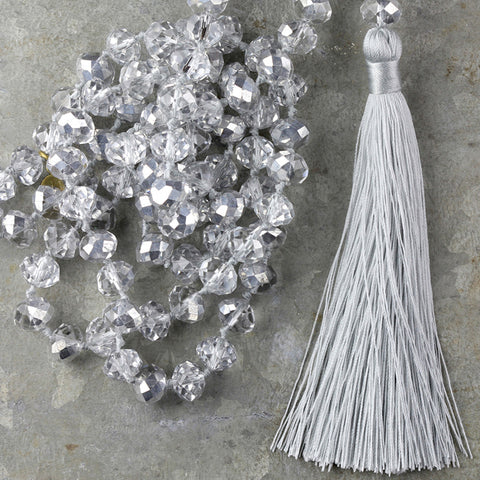 Large Crystal Tassel Necklace - Silver