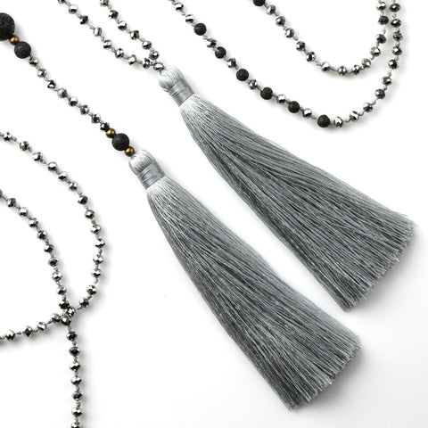 Silver Tassel Necklace Set with Lava Stone