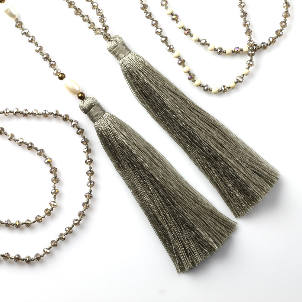 Taupe Tassel Necklace Set with Fresh Water Pearls