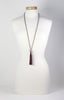 Wine Tassel Necklace with Silver Elephant Charm
