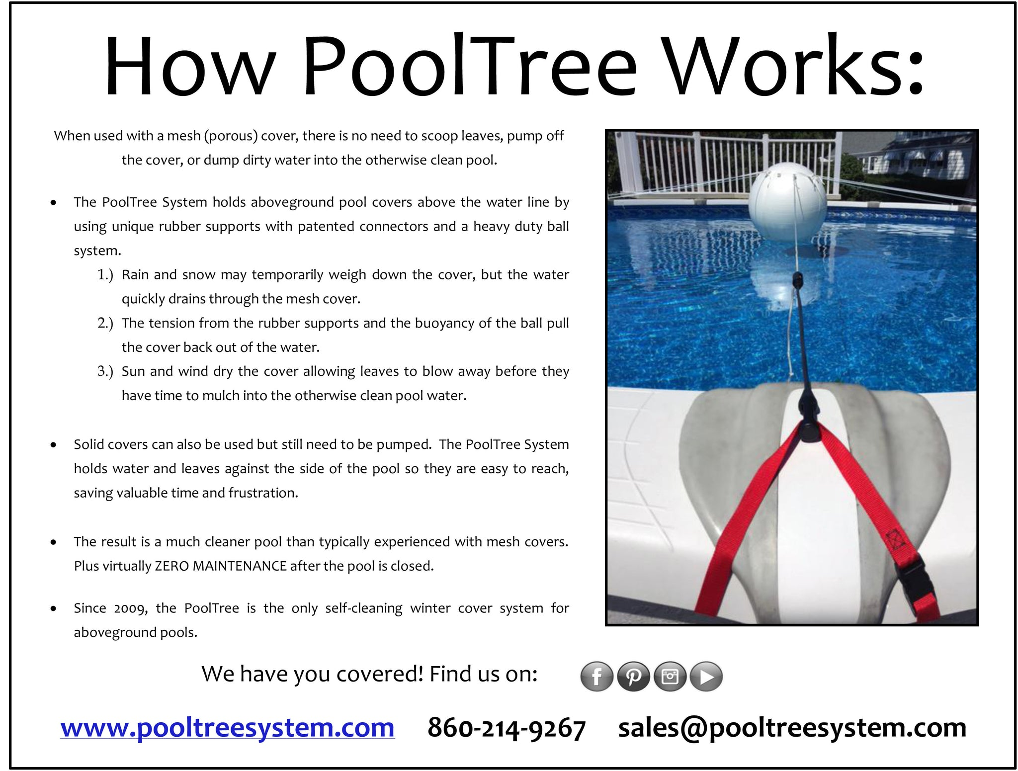 Pooltree system, pool tree system, winter cover system, aboveground pools, above ground pool, pool pillow, pool cover,  mesh cover, pool closing, pool winterization, support system, swimming pool, winter pool cover,  winterizing, air pillow, pool accessory, round pool, cover pillow, pool equipment, swimline, in the swim, pool mate, pillow pal, swim central, porous cover, pool pump, pool winter cover, pool cover support, pool closing kit, oval pool, ball, ball cover system, harness, bungee