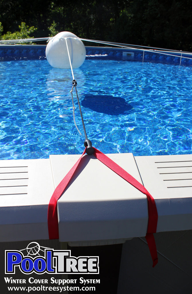 Pooltree system, pool tree system, winter cover system, aboveground pools, above ground pool, pool pillow, pool cover,  mesh cover, pool closing, pool winterization, support system, swimming pool, winter pool cover,  winterizing, air pillow, pool accessory, round pool, cover pillow, pool equipment, swimline, in the swim, pool mate, pillow pal, swim central, porous cover, pool pump, pool winter cover, pool cover support, pool closing kit, oval pool, ball, ball cover system, harness, strap