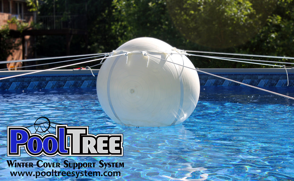 Pooltree system, pool tree system, winter cover system, aboveground pools, above ground pool, pool pillow, pool cover,  mesh cover, pool closing, pool winterization, support system, swimming pool, winter pool cover,  winterizing, air pillow, pool accessory, round pool, cover pillow, pool equipment, swimline, in the swim, pool mate, pillow pal, swim central, porous cover, pool pump, pool winter cover, pool cover support, pool closing kit, oval pool, ball, ball cover system, harness