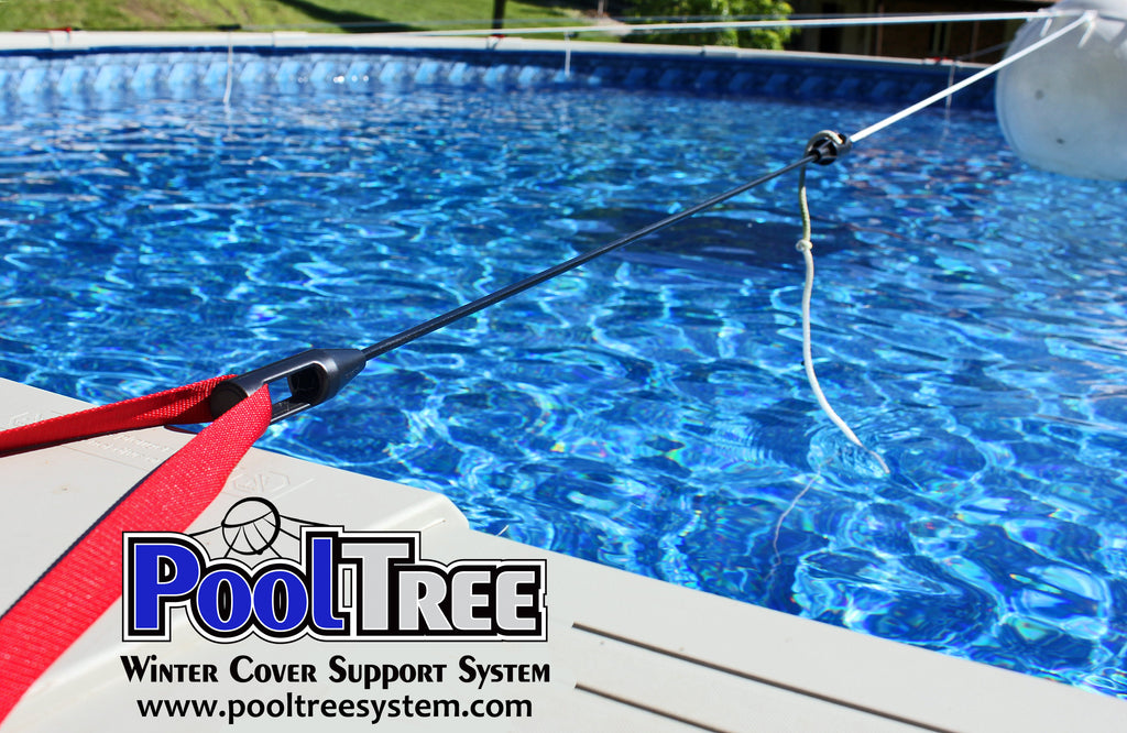 Pooltree system, pool tree system, winter cover system, aboveground pools, above ground pool, pool pillow, pool cover,  mesh cover, pool closing, pool winterization, support system, swimming pool, winter pool cover,  winterizing, air pillow, pool accessory, round pool, cover pillow, pool equipment, swimline, in the swim, pool mate, pillow pal, swim central, porous cover, pool pump, pool winter cover, pool cover support, pool closing kit, oval pool, ball, ball cover system, harness, bungee, strap