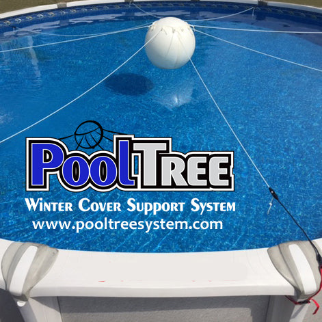 Pooltree system, pool tree system, winter cover system, aboveground pools, above ground pool, pool pillow, pool cover,  mesh cover, pool closing, pool winterization, support system, swimming pool, winter pool cover,  winterizing, air pillow, pool accessory, round pool, cover pillow, pool equipment, swimline, in the swim, pool mate, pillow pal, swim central, porous cover, pool pump, pool winter cover, pool cover support, round pool cover, round winter cover, pool closing kit, oval pool cover