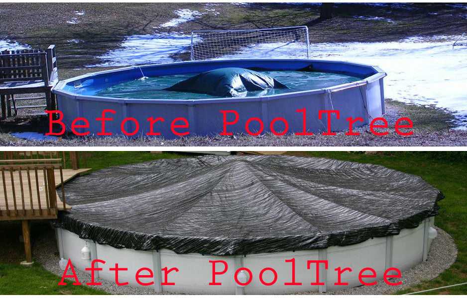18\' x 34\' Oval Pool: PoolTree System + Mesh Cover (Also fits 18\' x 33\')