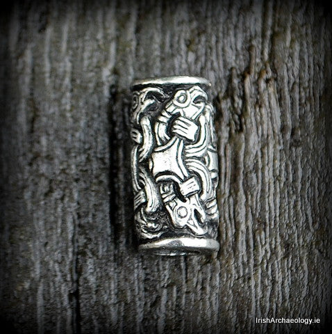 Pewter Viking Hair Bead, Ravens