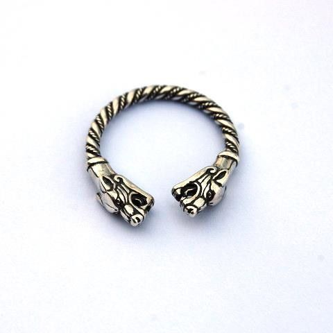 Viking Silver Ring, Wolf Heads