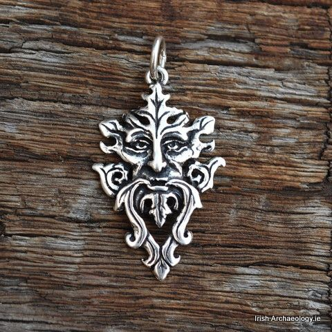 Silver Green Man Necklace