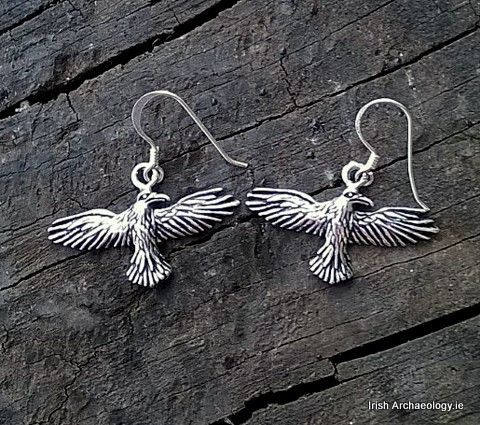 Morrigan Silver Raven Earrings