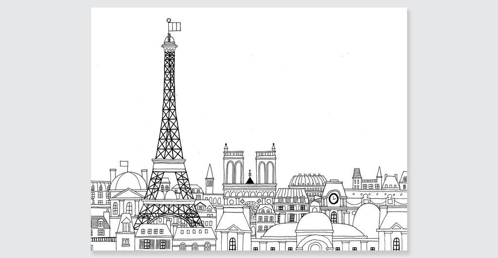 paris coloring book mini edition spread 2 - Paris Eiffel Tower Coloring Pages