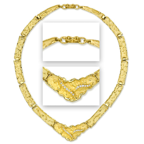 18karat gold necklace and diamonds, handmade by master goldsmiths in Italy