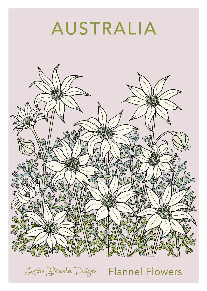 Tea Towel - Flannel Flowers