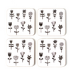Coasters Cork Gift Boxed 'Field of Flowers'