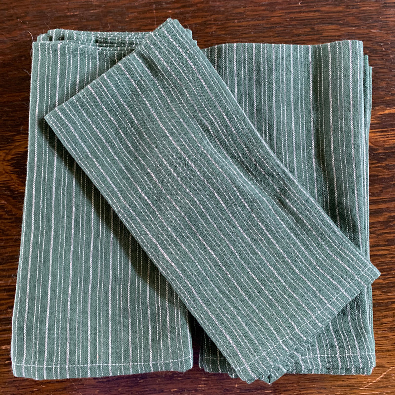 Napkins Handmade Cotton - Green Stripe