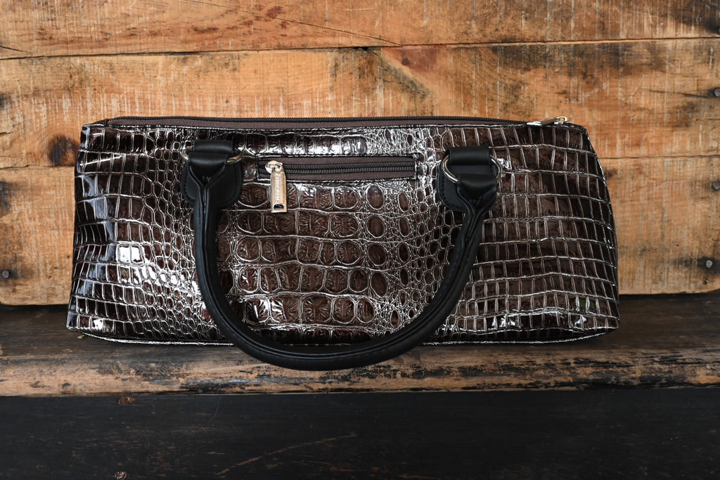 Wine Clutch 'Copper Brown Croc'