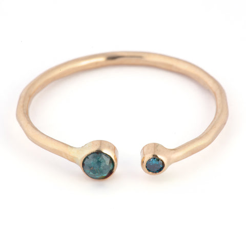 Blu Diamond Open Cuff Ring