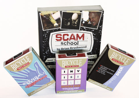 trick deck bundle - three trick decks and the scam school book