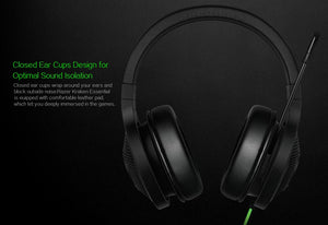 Razer Kraken Essential Headphone Headset With Mic Razer DeathAdder Essential 6400DPI Gaming Mouse for PC/Laptop/Phone Gamer