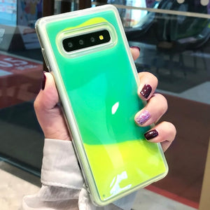 YHBBCASES Luminous Neon Sand Cover For Samsung Galaxy S8 S9 S10 Plus Note 10 8 9 Glow In The Dark Liquid Glitter Quicksand Cases