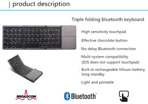 Three system universal Triple foldingfold with touchpad tablet mobile phone computer wireless Bluetooth folding mini keyboard