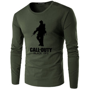 Men's T-Shirt long- Sleeve Round Neck Print T-Shirt Call of Duty T-Shirt Fashion Casual