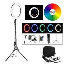 "Load image into Gallery viewer, Camera Photo Studio Phone Video 18"" RGB 19 Colors Light 544PCS LED Ring Light Photography Dimmable Ring Lamp With 180CM Tripod"