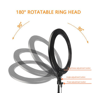 "Camera Photo Studio Phone Video 18"" RGB 19 Colors Light 544PCS LED Ring Light Photography Dimmable Ring Lamp With 180CM Tripod"
