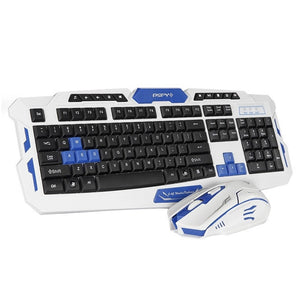2.4GHz Wireless Keyboard Gaming Keyboard Mouse Combo 19 Keys Anti-ghosting Adjustable DPI Mouse USB Receiver Adapter Mouse Mat