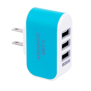 Candy Color 3USB Charger Travel Wall Charger Adapter Power Supply Charger