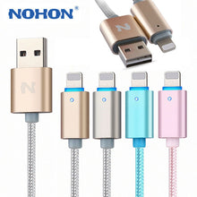 Load image into Gallery viewer, NOHON 150cm LED SMART USB cable For iPhone X 8 5S  6 Plus 6S ipad 4 mini Air IOS 6 7 8 9 10 11 Aluminum alloy data charger cable
