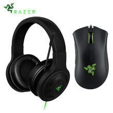 Load image into Gallery viewer, Razer Kraken Essential Headphone Headset With Mic Razer DeathAdder Essential 6400DPI Gaming Mouse for PC/Laptop/Phone Gamer