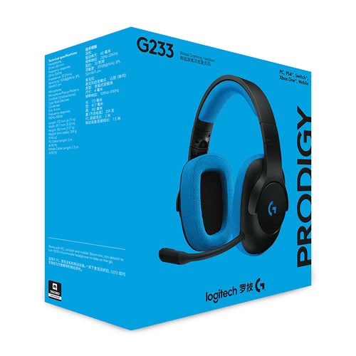 100% Original Logitech G233 Prodigy Gaming Headset Wired Control/ Mic for PC, PS4/PRO, Xbox One, Xbox One S, Nintendo Switch