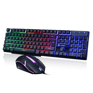 Gaming keyboard Colorful LED Illuminated Backlit USB Wired PC Rainbow Anti-skid and waterproof design Gaming Keyboard Mouse Set
