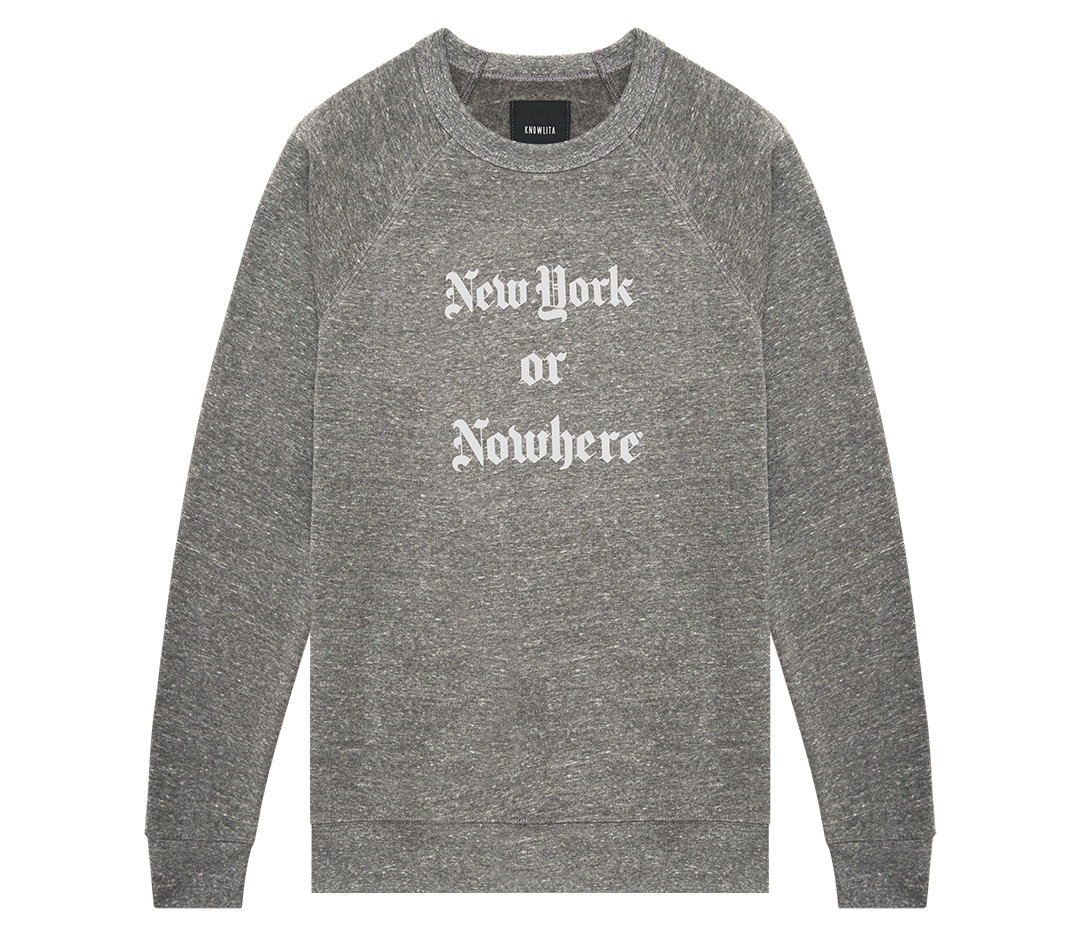 "New York or Nowhere® ""Times"" Crew (Grey/White)"