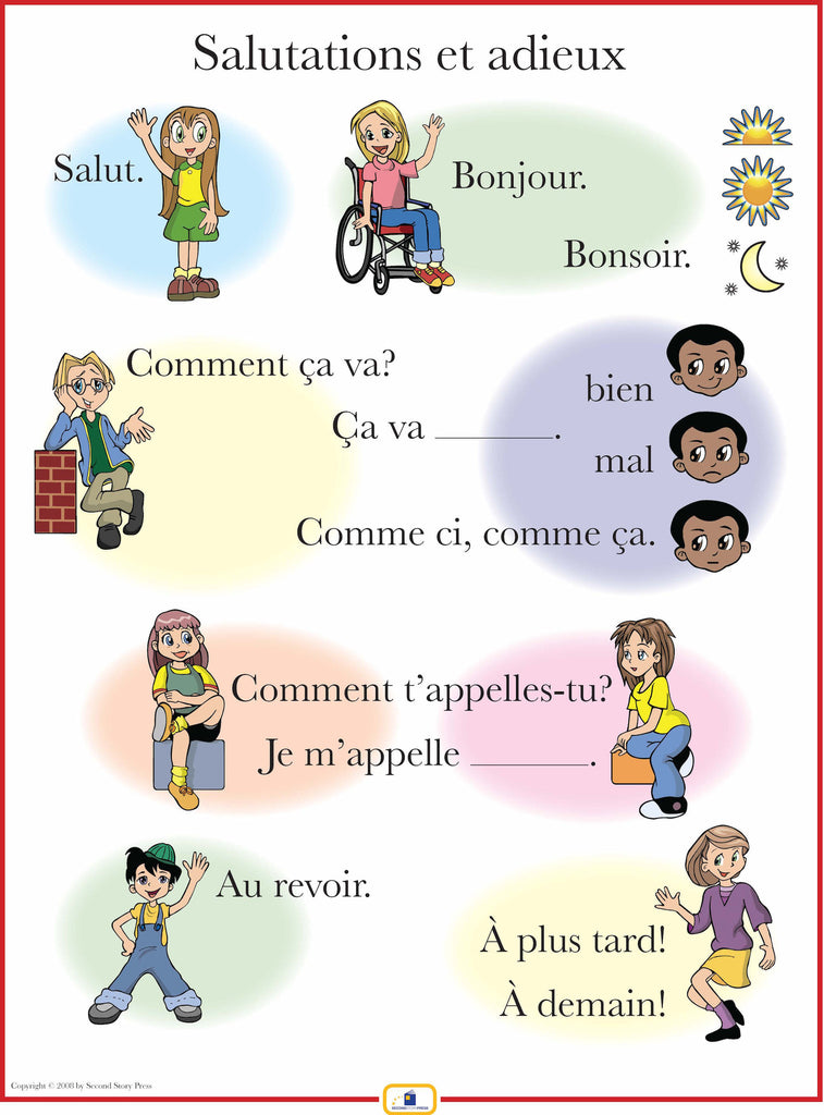 French Greetings Poster - Italian, French and Spanish Language ...