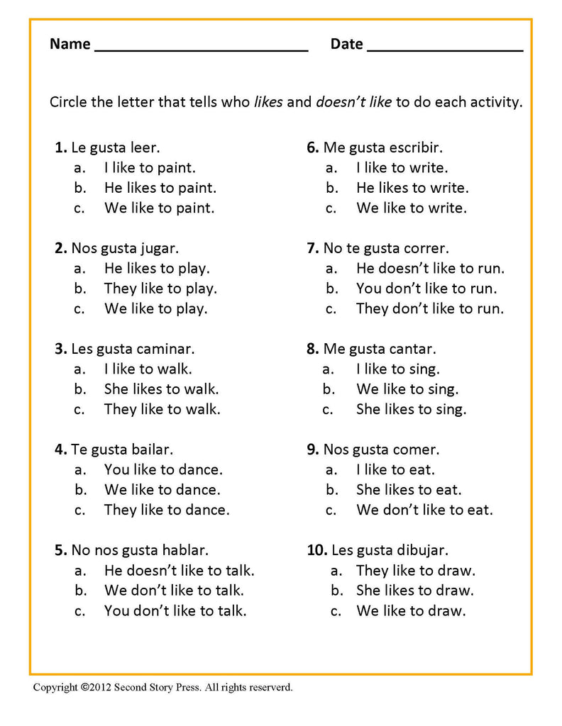 Gustar Worksheets Worksheets for all | Download and Share ...