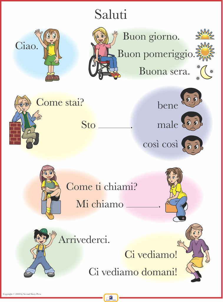 English In Italian: Italian Set Of 4 Posters With Everyday Phrases