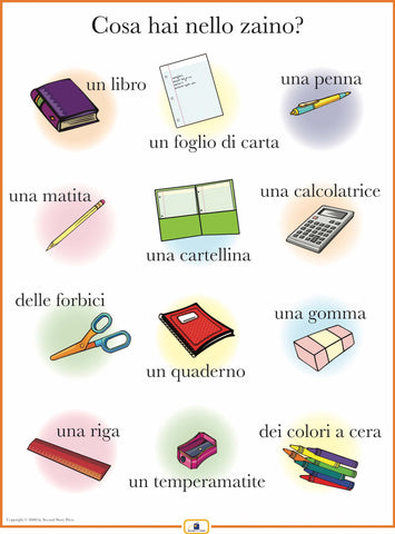 Italian School Supplies Poster