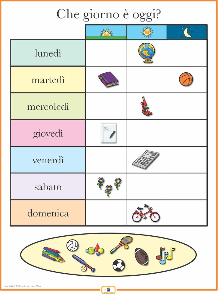 Italian Days of the Week Poster - Italian, French and Spanish ...