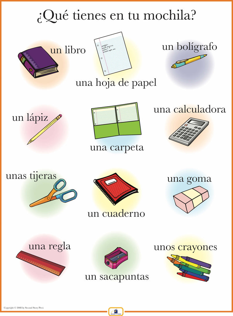 spanish school supplies poster italian french and spanish language teaching posters second. Black Bedroom Furniture Sets. Home Design Ideas