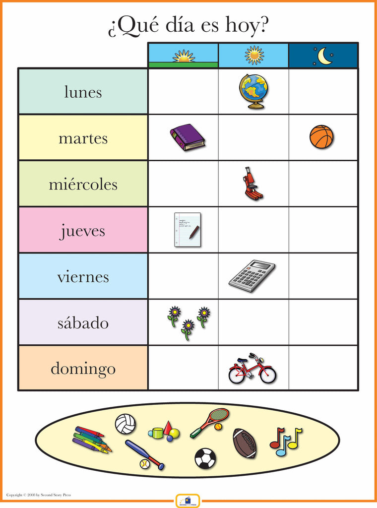 Spanish Days Of The Week Poster Italian French And Spanish