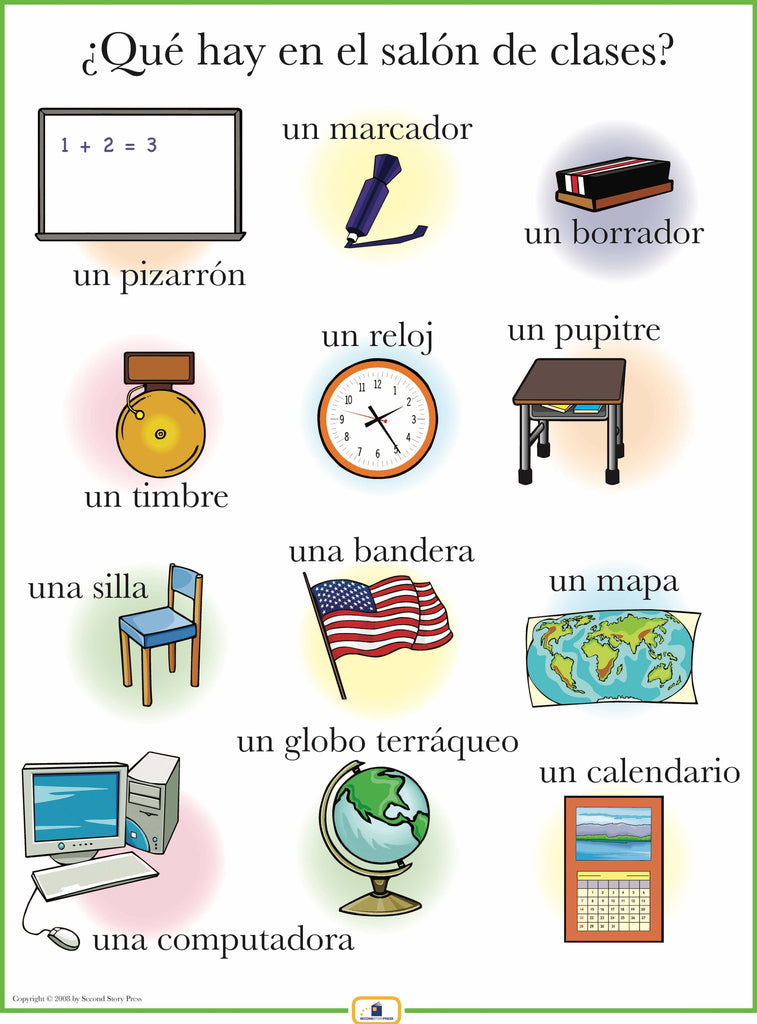 Spanish set of 21 mini posters digital italian french for 10 objetos del salon de clases en ingles