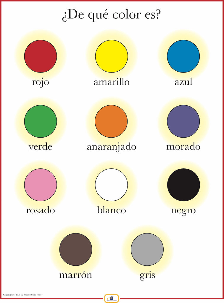 Spanish Colors Poster Italian French And Spanish Language