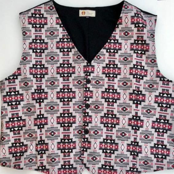 Men's Grey and Red Vest