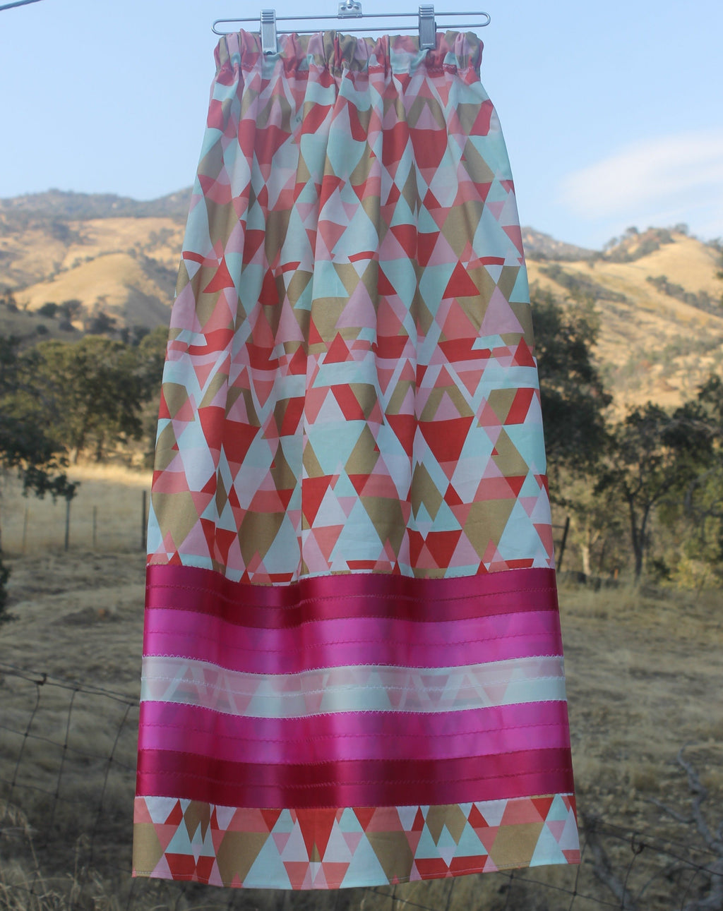 Pink and Gold Ribbon Skirt ribbon skirt black, comfortable, Cotton, dress, fabric, Fall, Fashion, Indian, Indigenous, Native, oit, Our, pink, pow, Powwow, ribbon, ribbon skirt, skirt, Spring,